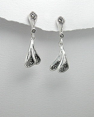 <b>Silver 925 and marcasite earrings</b>