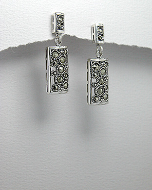 <b>Silver 925 and marcasite earrings - rectangular</b>