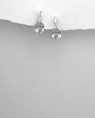 <b>Silver 925 and green/white zirconia earrings</b>