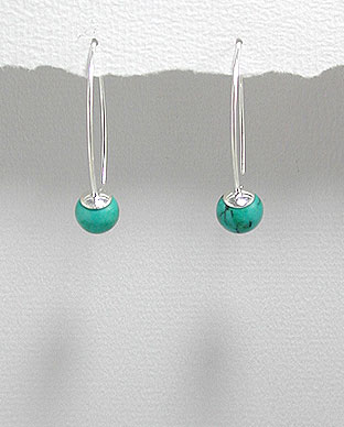 <b>Interesting silver 925 and natural turquoise earrings</b>