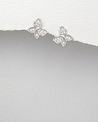 <b>Fine silver and zircon earrings - little butterflies</b>