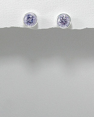 <b>Silver 925 and lavender zirconia earrings</b>