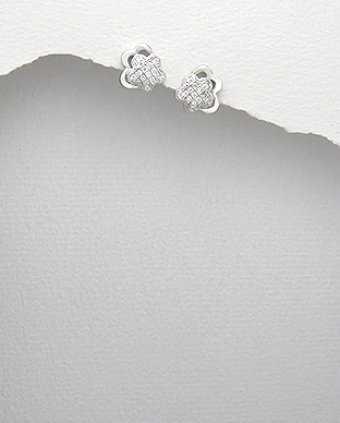 <b>Fine sterling silver and zirconia earrings - little stars</b>