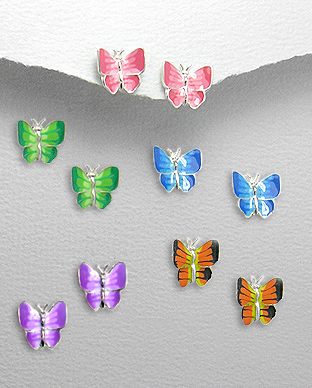 <b>Silver and colored enamel earrings - little butterflies</b>
