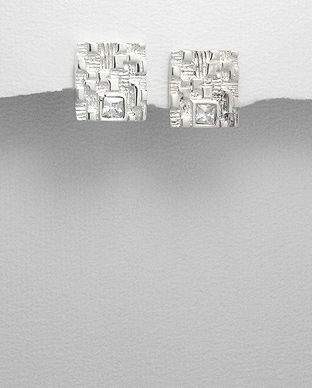 <b>Interesting silver and white zirconia earrings</b>
