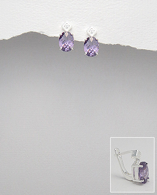 <b>Silver 925 and white/lavender zirconia earrings</b>