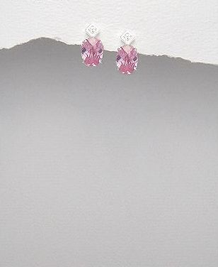 <b>Silver 925 and white/pink zirconia earrings</b>