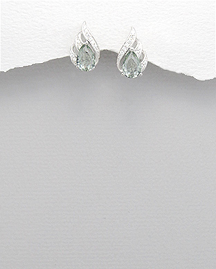 <b>Fine silver and green/white zirconia earrings</b>