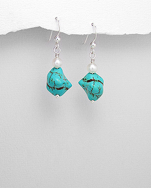 <b>Silver, turquoise and pearls earrings</b>