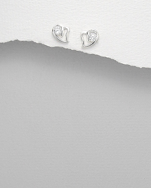 <b>Fine silver - zirconia earrings - little hearts</b>