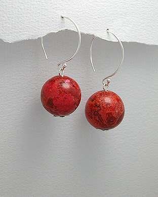<b>Silver 925 and coral earrings</b>
