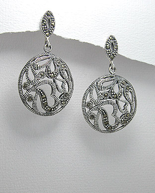 <b>Special silver 925 and marcasite earrings</b>