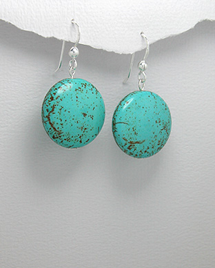 <b>Silver 925 and reconstructed turquoise earrings</b>