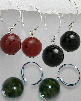 <b>Fancy silver 925 and black agate, olive or carnelian earrings