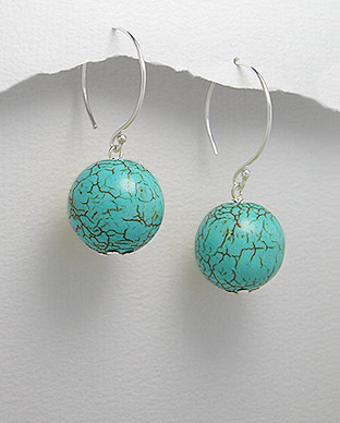 <b>Fancy silver 925 and turquoise earrings</b>