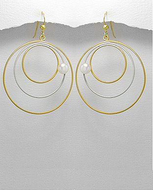 <b>14 Gold Plated Silverand Pearls Earrings</b>