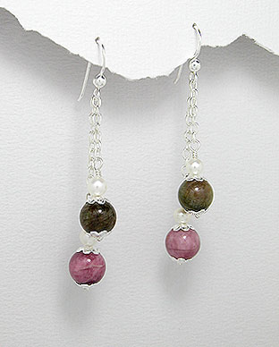 <b>Special silver, tourmaline and pearls earrings</b>