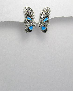 <b>Sterling silver earrings with marcasite and blue-black colour