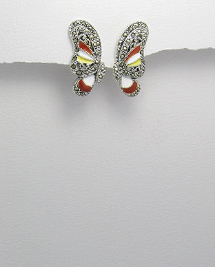 <b>Special sterling  silver earrings with marcasite and white-ye