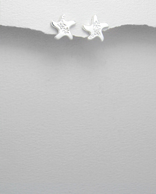 <b>Silver 925 and zirconia earrings - starfish</b>