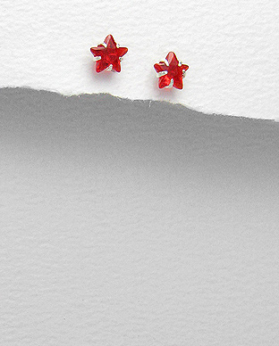 <b>Silver and red zirconia earrings - star</b>
