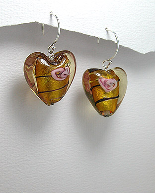 <b>Silver and Murano glass earrings - hearts</b>