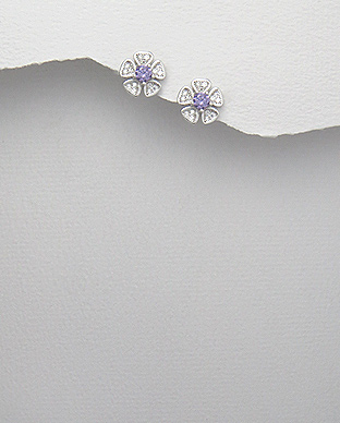 <b>Fine silver and zircon earrings - purple</b>