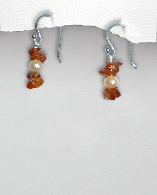 <b>Exclusive silver, carnelian and pearls earrings</b>