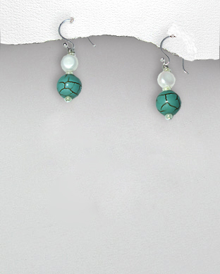 <b>Exclusive silver-pearls-turquoise earrings</b>