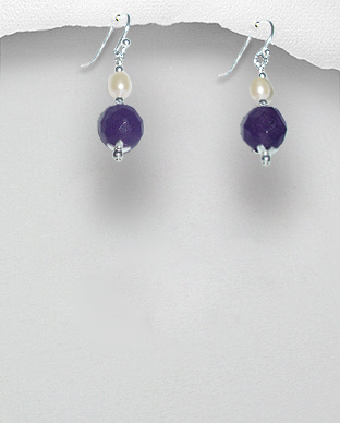 <b>Exclusive silver, amethyst and pearls earrings</b>