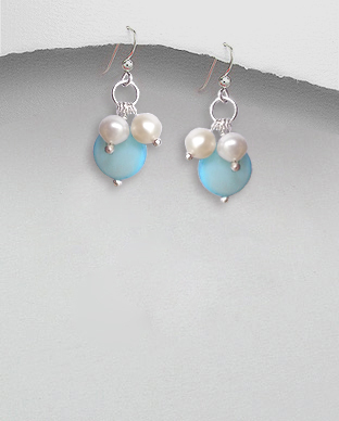 <b>Silver pearls-mop earrings/light blue-white</b>