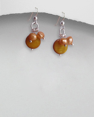 <b>Silver pearls-mop earrings/light brown</b>