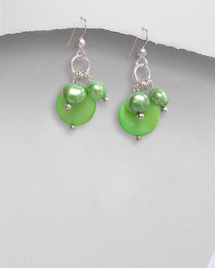 <b>Silver pearls-mop earrings/light green</b>