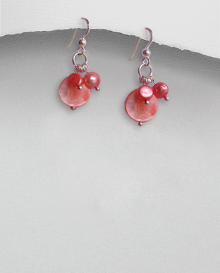 <b>Silver pearls-mop earrings/light red</b>