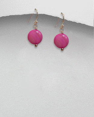 <b>Silver 925 and mop earrings/pink</b>
