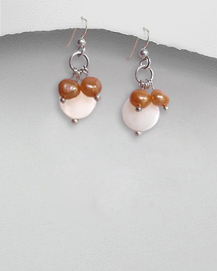 <b>Silver pearls-mop earrings/white-orange</b>