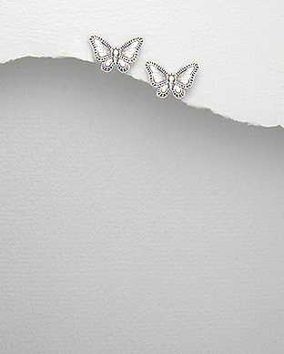 <b>Fine silver earrings - butterflies (m)</b>