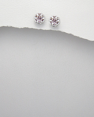<b>Fine silver and purple zirconia earrings</b>