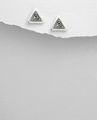 <b>Fine silver and marcasite earrings - triangles</b>