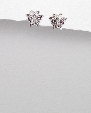 <b>Silver and marcasite earrings - butterflies</b>