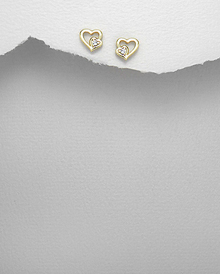 <b>Fine gold plated silver - crystal earrings</b>