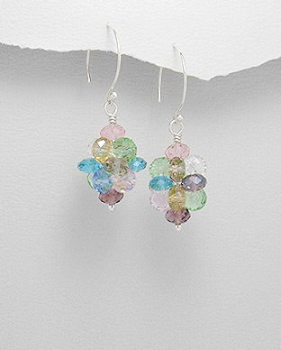 <b>Nice silver and colored crystal glass earrings</b>