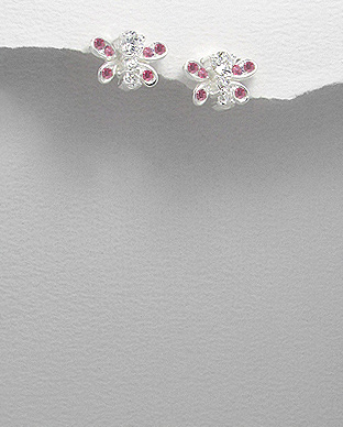 <b>Silver - pink zirconia earrings - butterflies</b>
