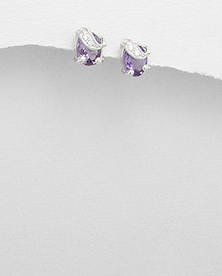 <b>Special silver and amethyst gem stones earrings</b>