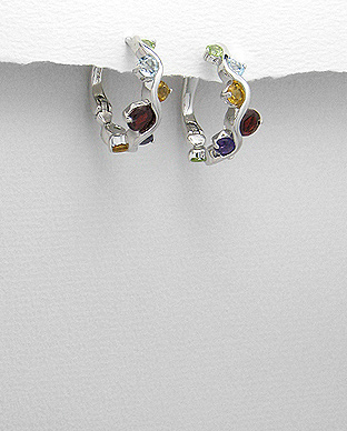 <b>Special silver and gem stones earrings</b>