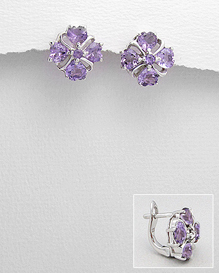 <b>Special silver - amethyst semi gem stones earrings