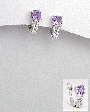 <b>Special silver and amethyst semi gem stones earrings</b>