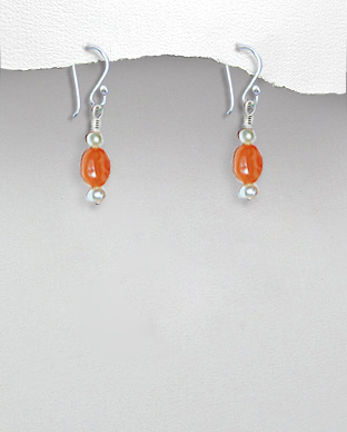 <b>Exclusive earrings - carnelian and pearls<b>