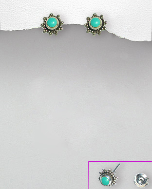 <b>Silver and light-blue turquoise earrings<b>