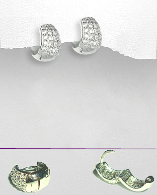 <b>Silver and white zirconia earrings</b>